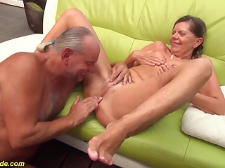 sexy skinny german pigtailgranny gets rough doggystyle big cock fucked by the brush husband