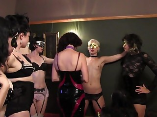 Fetish dealings party with a lesbian sub attending loads of gentlemen
