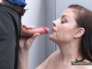 MILF ends roughly sucking cock after strip checkout