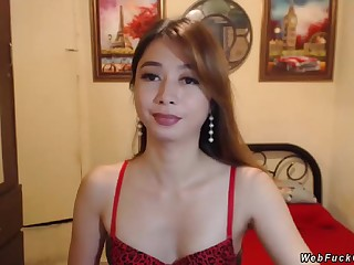 Hot brunette amateur Asian shemale more underclothing stripping then wanking her small cock