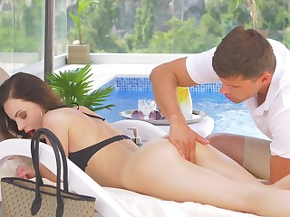Fortifying massage with the addition of poolside sex for scrumptious Victoria Traveler