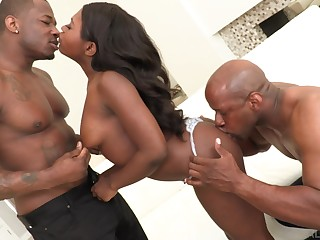 Addictive scenes of black threesome on a tight malicious ass