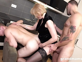 Wild a bit chubby tow-headed mature whore gives BJs to strong studs