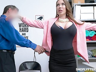 Giant breasted slutty MILF Bianca Garrotte is bent over and fucked doggy by constable