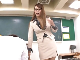 Wakana Nao is a nerdy Asian chick who is addicted to fucking