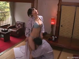 Smooth coitus on the bed with accurate natural knockers housewife