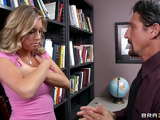 Fucking in the office ends with cum on tits for sexy Samantha Saint